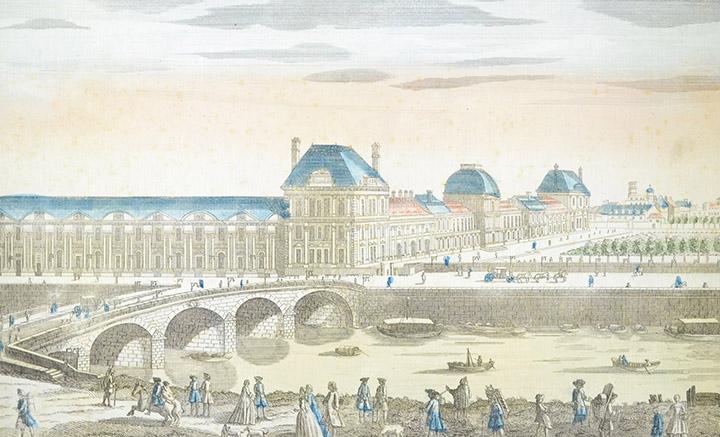 Vista óptica del Palacio de las Tullerías y el Pont Royal en Paris (Francia)