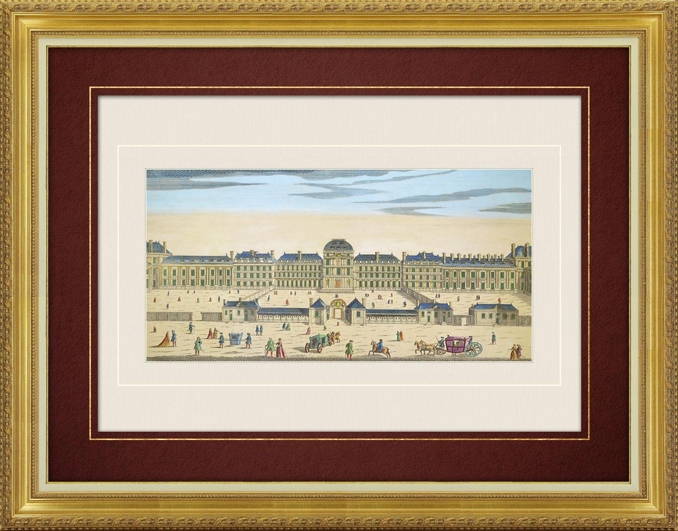 Vue d'optique du 18e siècle en coloris d'époque du Palais des Tuileries à Paris (France)