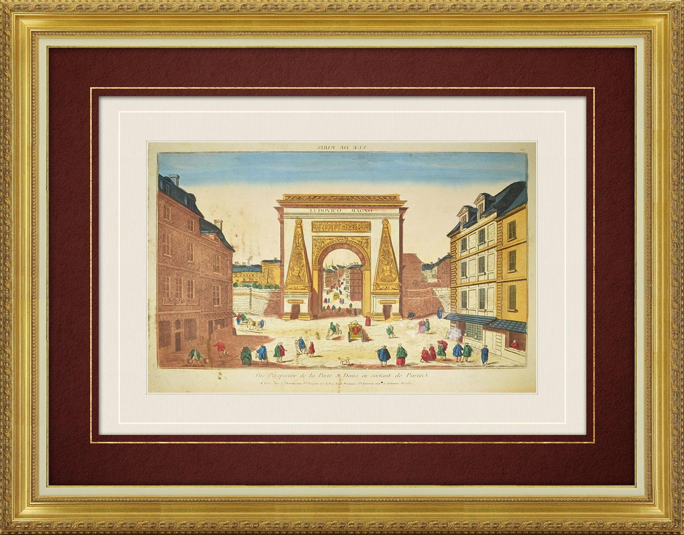 Vue d'optique du 18e siècle en coloris d'époque de la Porte Saint Denis à Paris (France)