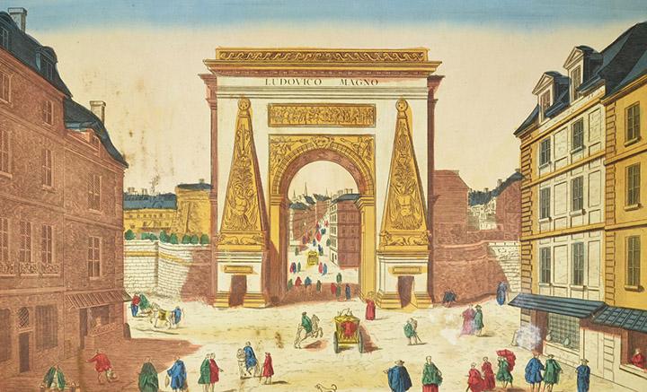 Vista óptica de la Porte Saint-Denis en Paris (Francia)