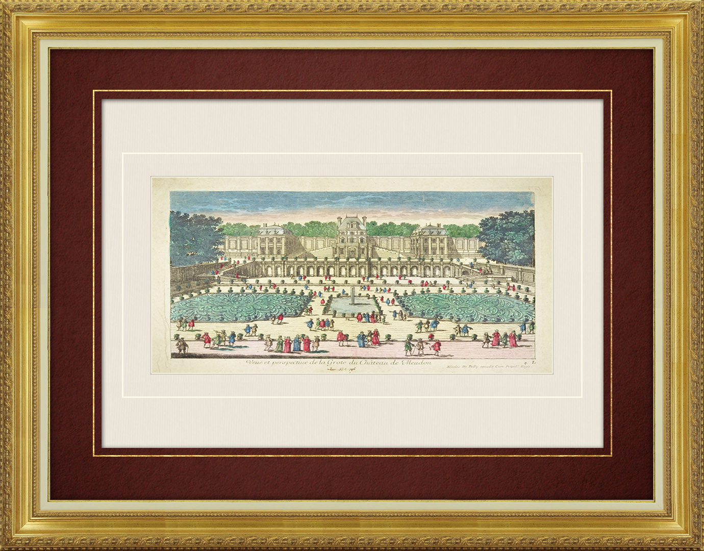 17th Century optical view in original watercolors of the Castle of Meudon (France)