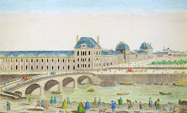 Optical view of the Tuileries Palace and the Pont Royal in Paris (France)