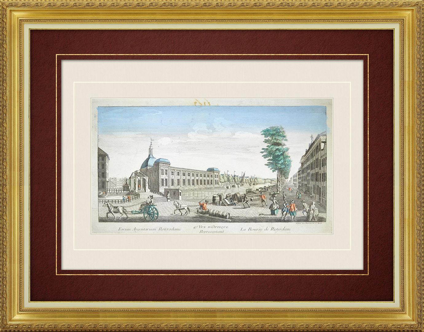 Vue d'optique du 18e siècle en coloris d'époque de la Bourse de Rotterdam (Hollande)