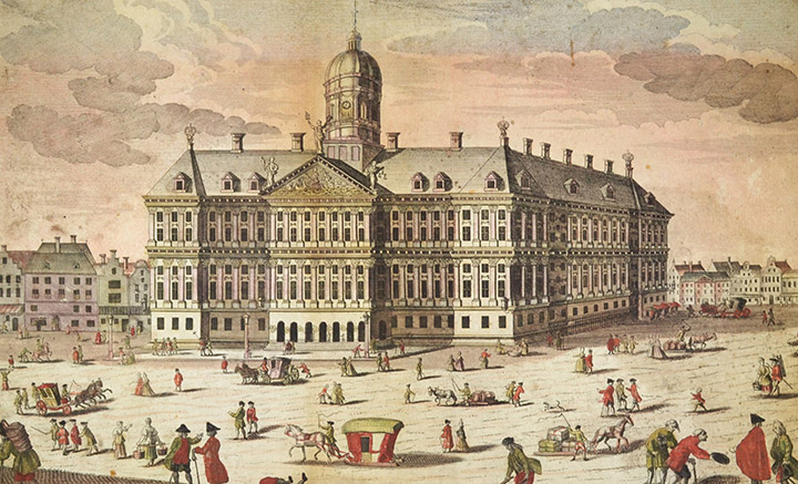 Optical view of the Royal Palace of Amsterdam (Holland)
