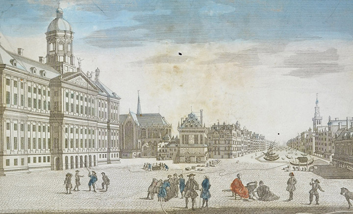 Optical view of the Royal Palace of Amsterdam and the Fire Extinguishers (Holland)