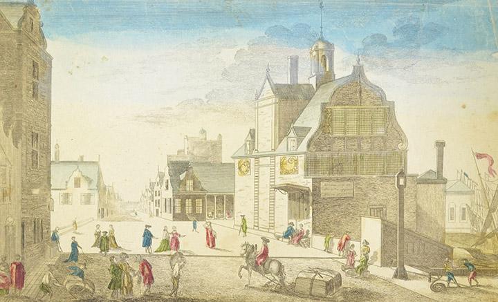 Optical view of Prins Hendrikkade in Amsterdam (Holland)