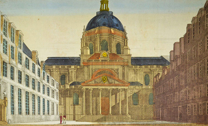 Optical view of the Sorbonne in Paris (France)