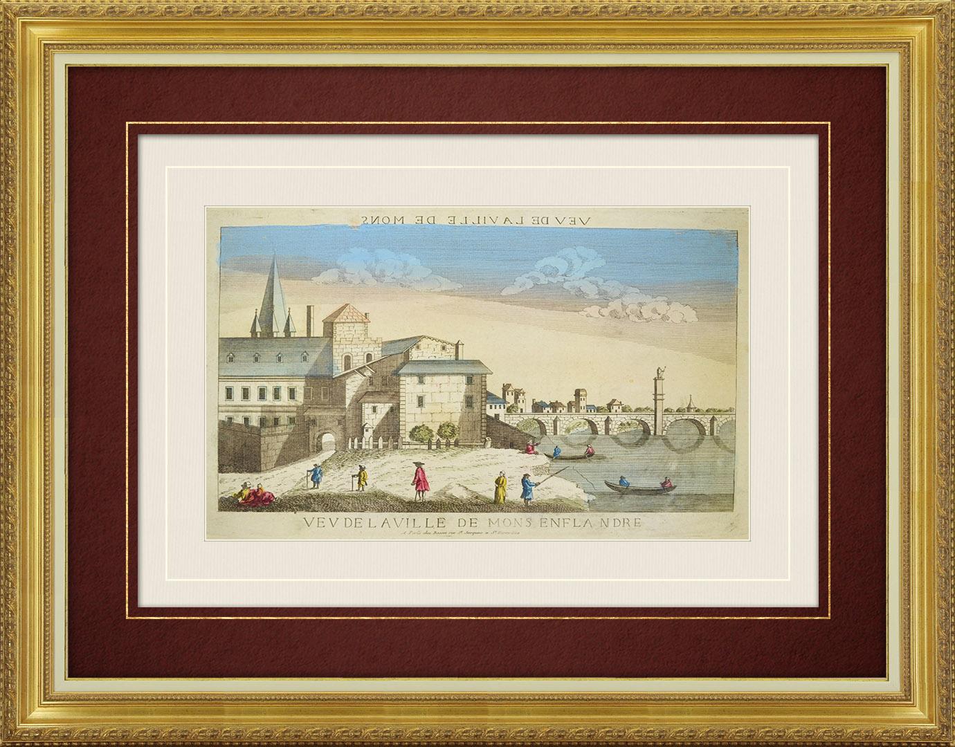 Vue d'optique du 18e siècle en coloris d'époque de Mons (Belgique)