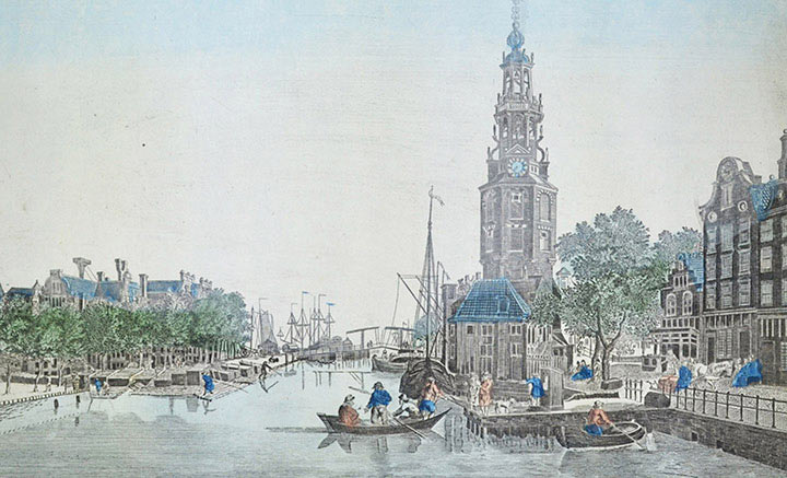 Optical view of the Oudeschans and the Tower Montelbaanstoren in Amsterdam (Holland)