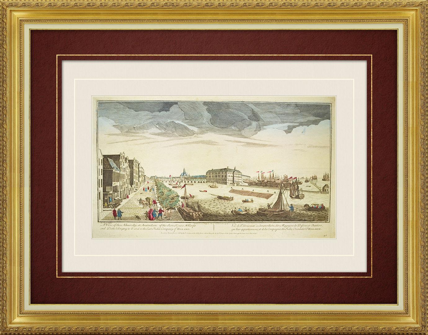 Vue d'optique du 18e siècle en coloris d'époque de la Compagnie des Indes Orientales à Amsterdam (Hollande)