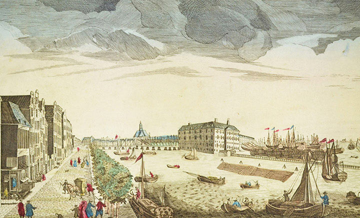 Optical view of Dutch East India Company in Amsterdam (Holland)
