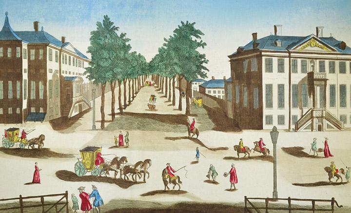 Vista óptica de Lange Voorhout en La Haya (Holanda)