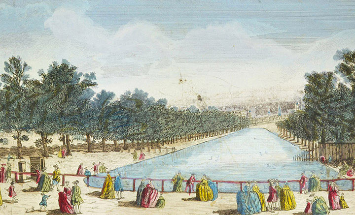 Optical view of the Canal of St James's Park and Buckingham Palace in London (England)