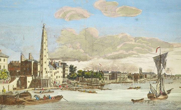 Optical view of London near York Buildings - Thames (England)