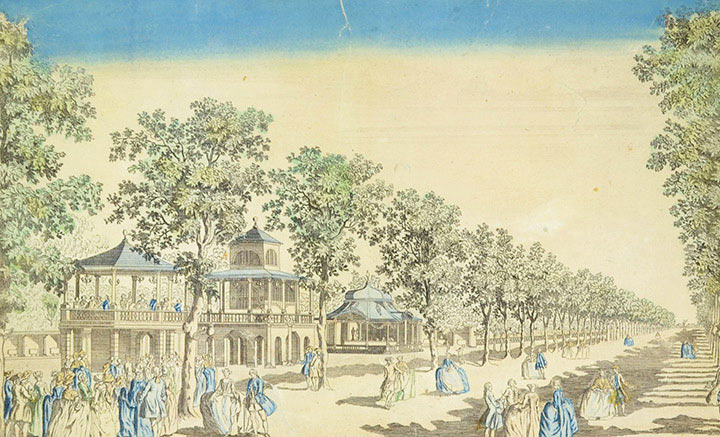 Optical view of the Vauxhall Gardens in London (England)