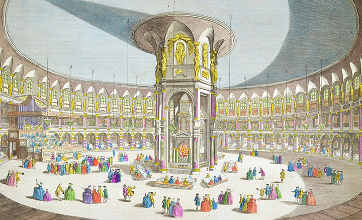 Optical view of the Rotunda of Ranelagh Gardens in London (England)