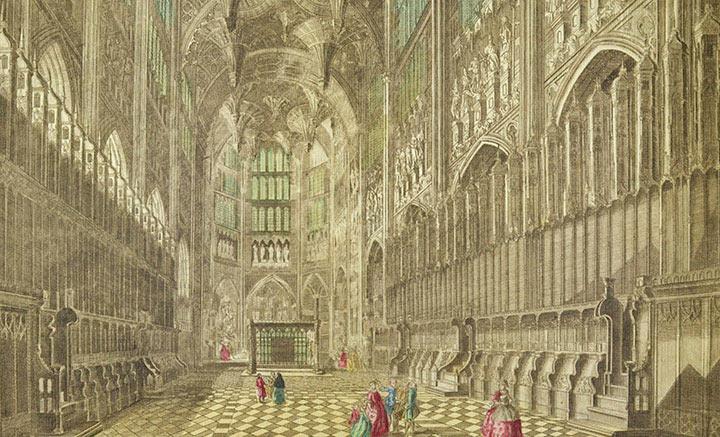 Vue d'optique du Choeur de l'Abbaye de Westminster à Londres (Angleterre)