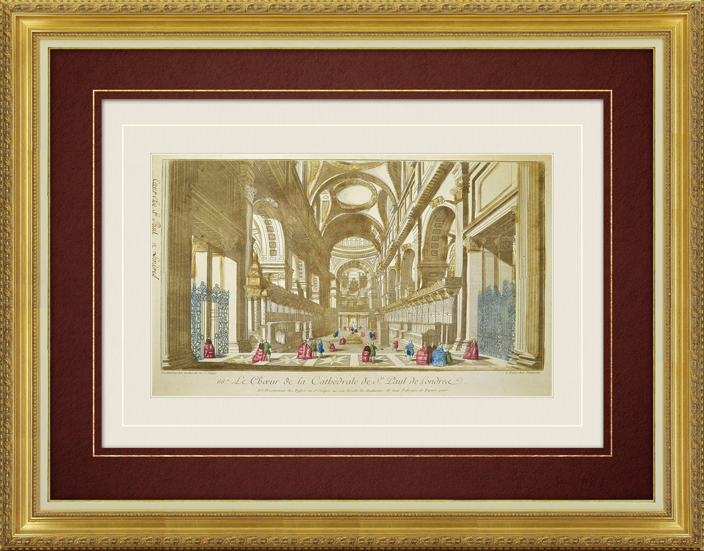 Vue d'optique du 18e siècle en coloris d'époque du Choeur de la Cathédrale Saint-Paul de Londres (Angleterre)