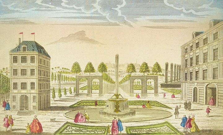 Optical view of a Garden of the King of England near London (England)