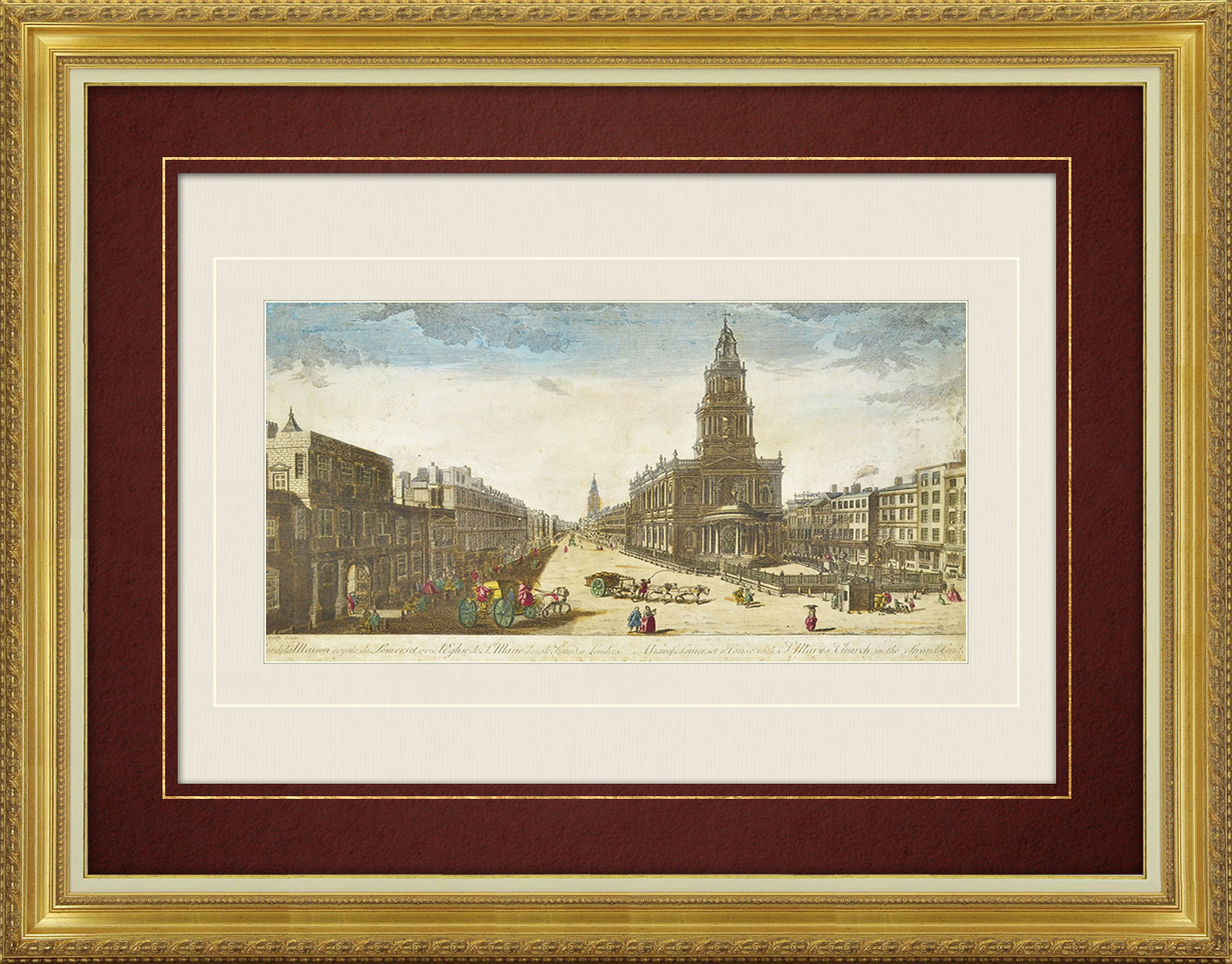 18th Century optical view in original watercolors of Somerset House and St Mary le Strand in London (England)