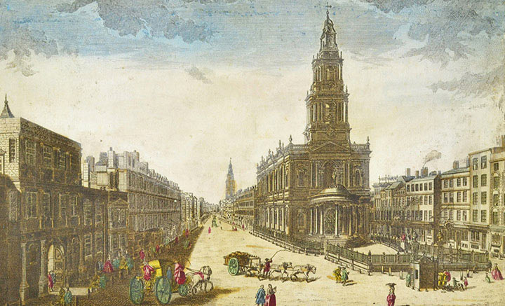 Optical view of Somerset House and St Mary le Strand in London (England)
