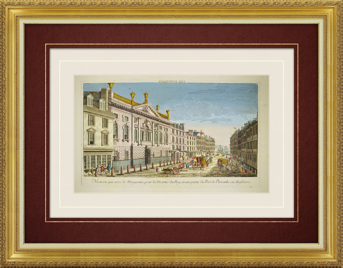 18th Century optical view in original watercolors of the Port of Plymouth and the Royal Victualling House (England)