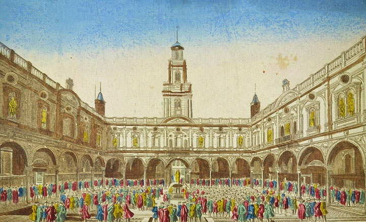 Optical view of the Royal Exchange in London (England)