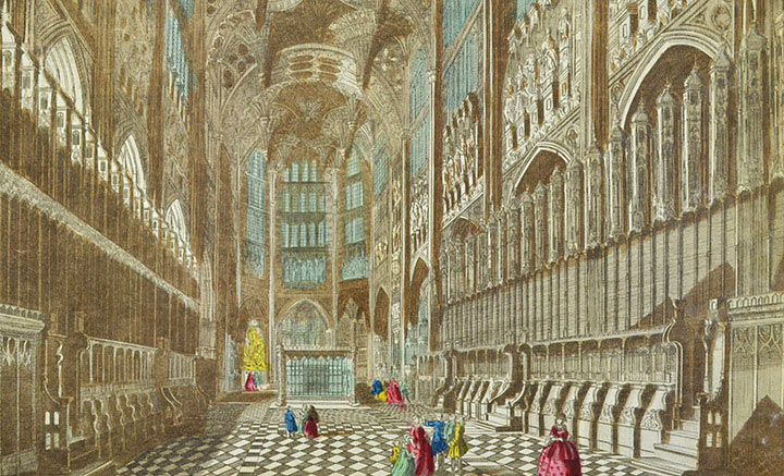 Optical view of the Choir of Westminster Abbey in London (England)
