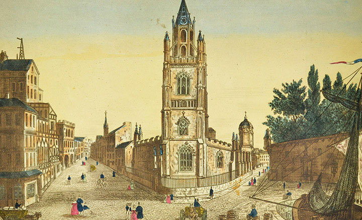 Optical view of the Church of Our Lady and Saint Nicholas in Liverpool (England)