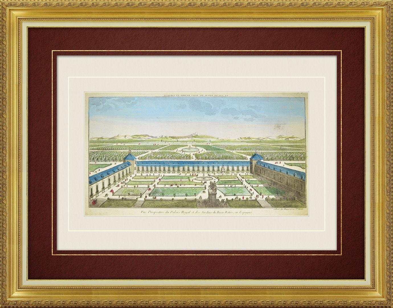 18th Century optical view in original watercolors of the Buen Retiro Palace in Madrid (Spain)