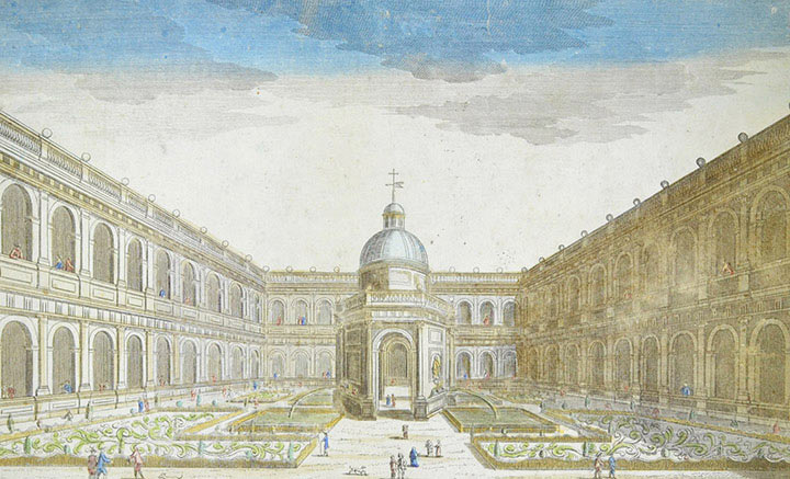 Optical view of the Escorial Cloister (Spain)