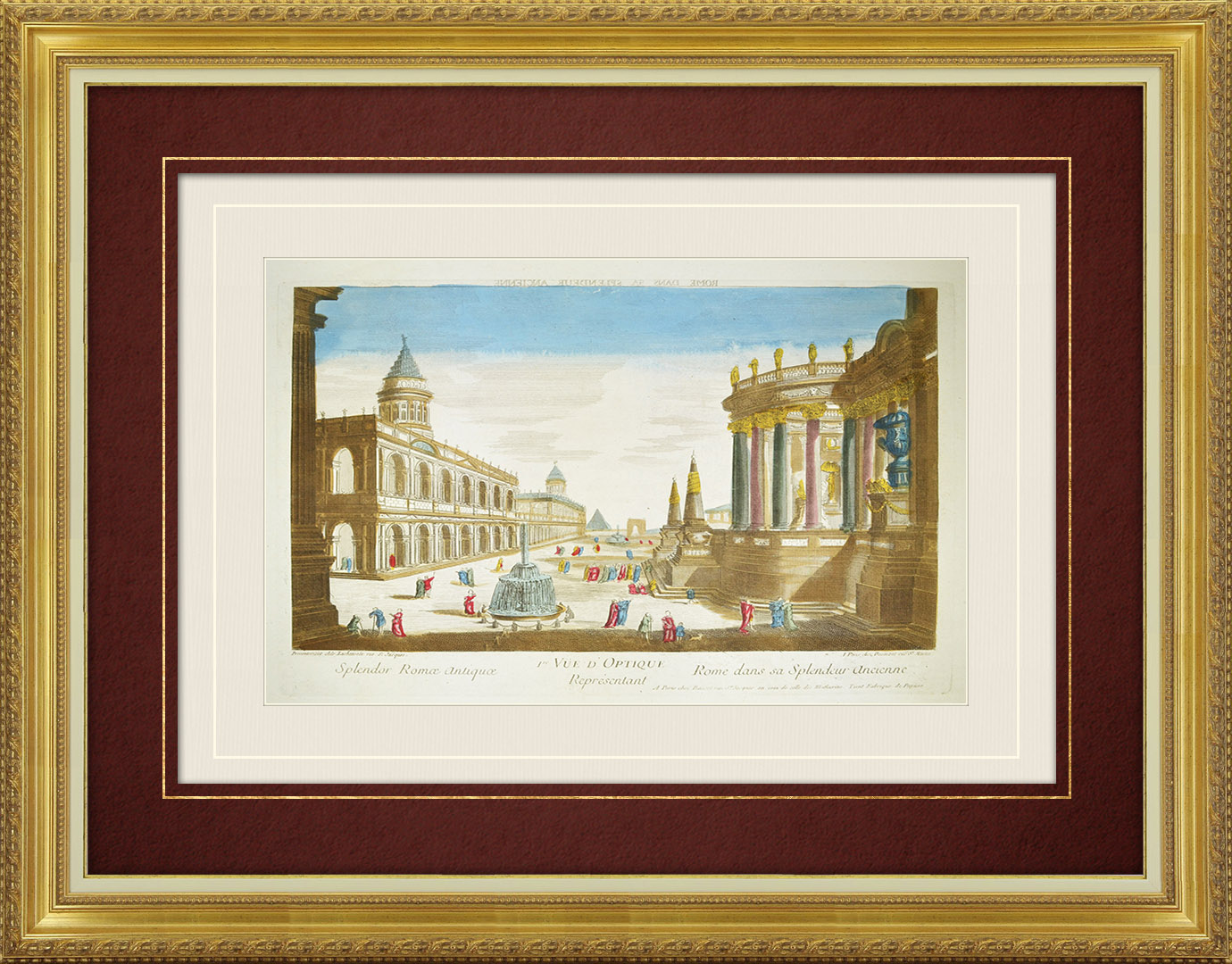 18th Century optical view in original watercolors of ancient Rome (Italy)