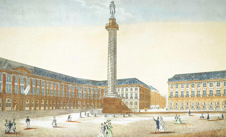 Optical view of the Place Vendôme and the Vendôme Column at Paris (France)