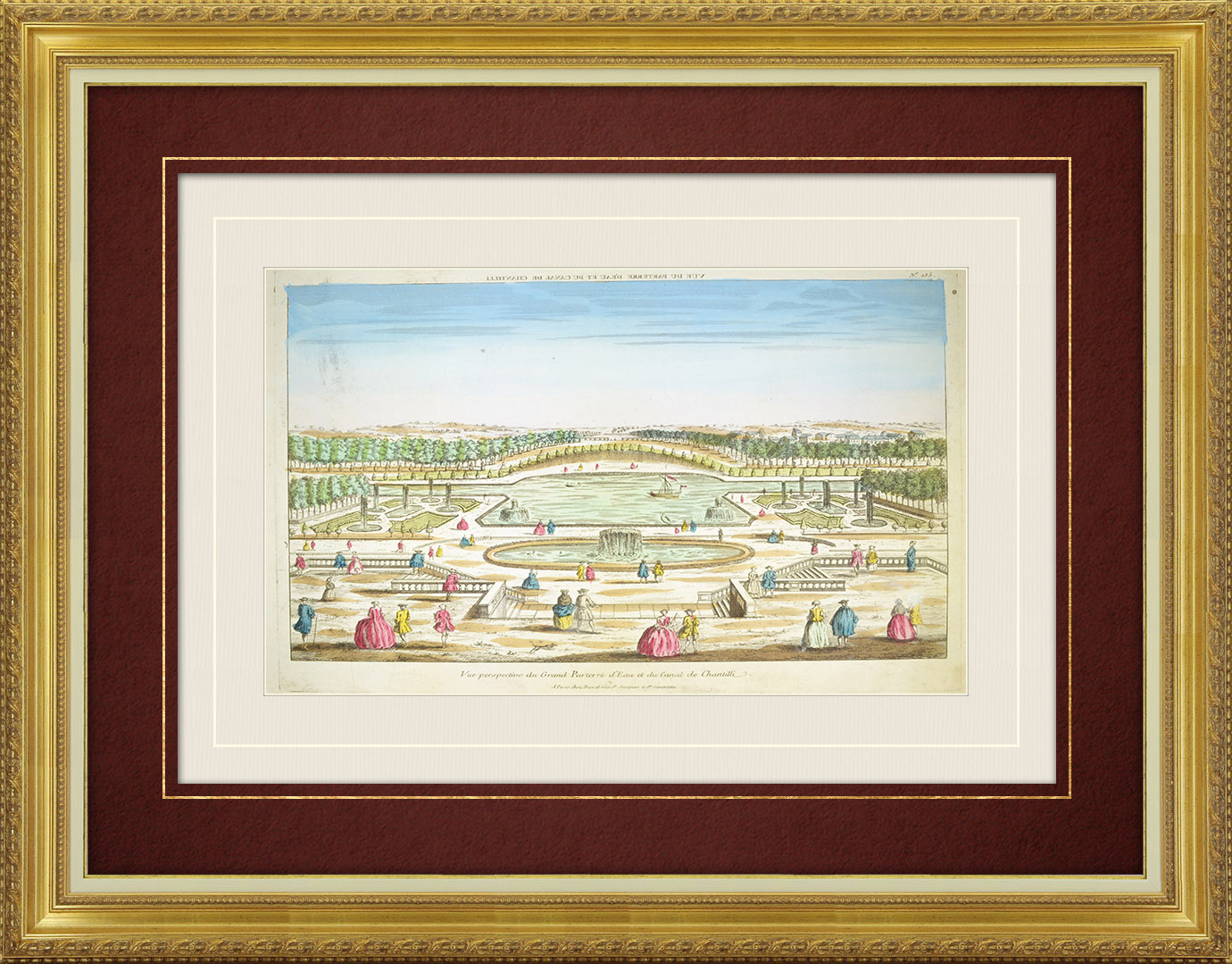 18th Century optical view in original watercolors of the Grand Canal of Chantilly Castle (France)