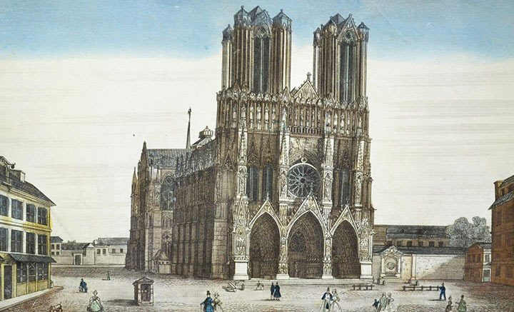 Optical view of the Reims Cathedral (France)