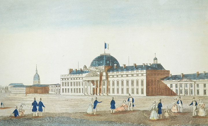 Optical view of the Ecole Militaire in Paris (France)