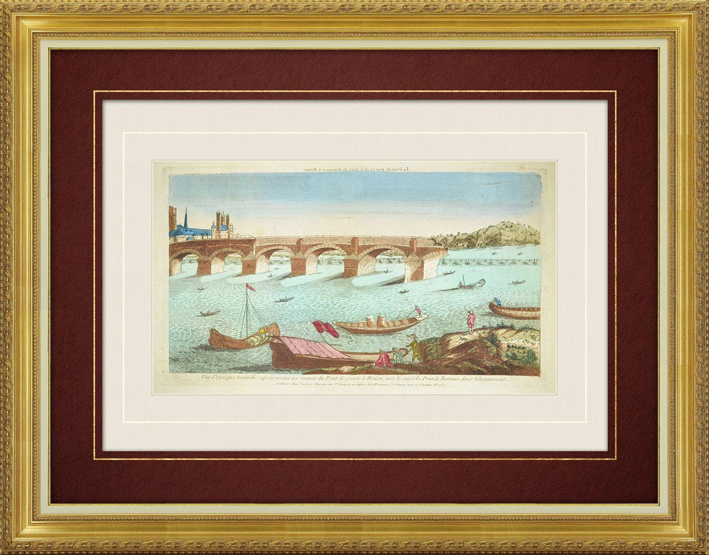 18th Century optical view in original watercolors of the Stone Bridge in Rouen (France)