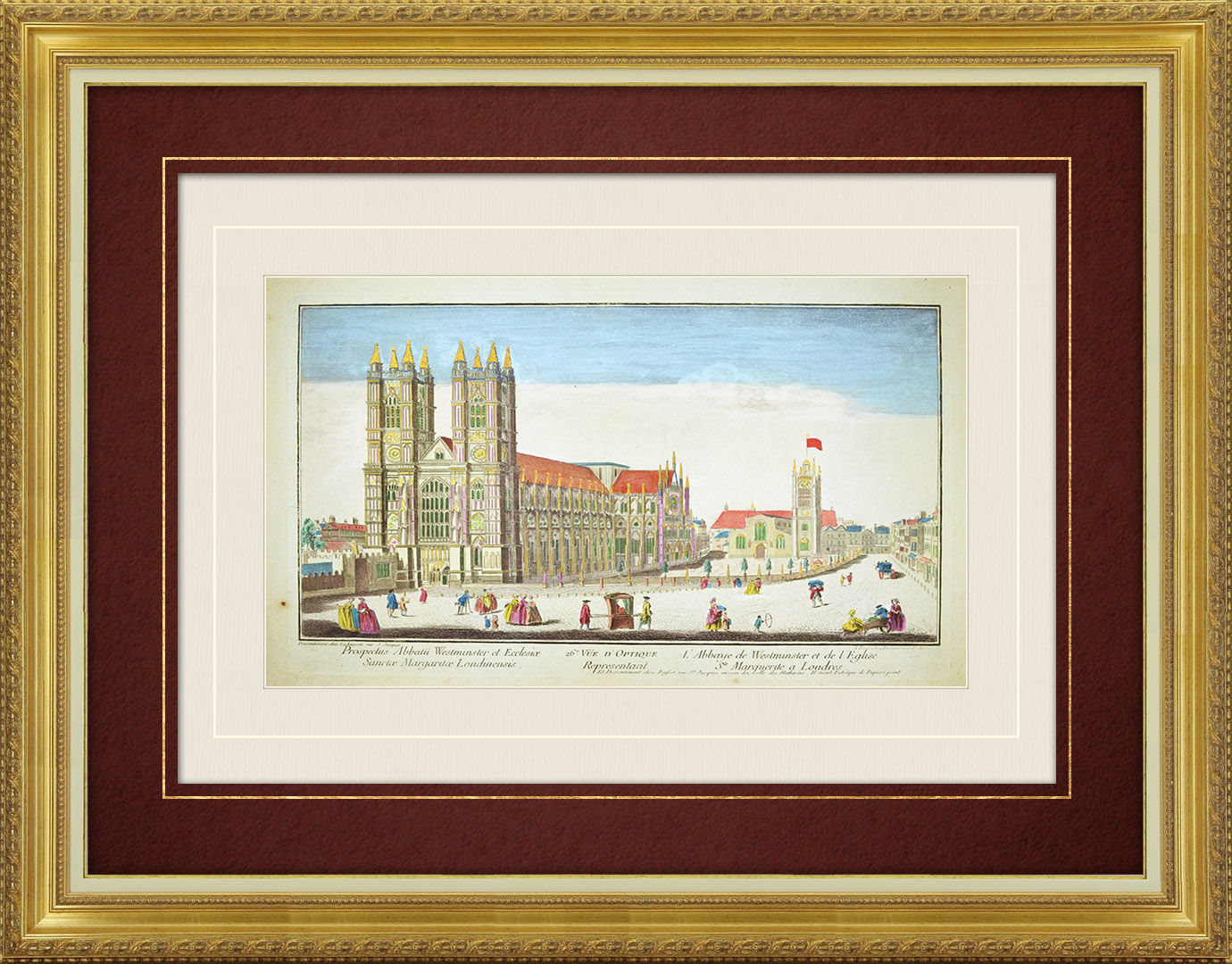 18th Century optical view in original watercolors of Westminster Abbey and St Margaret's Church in London (England)