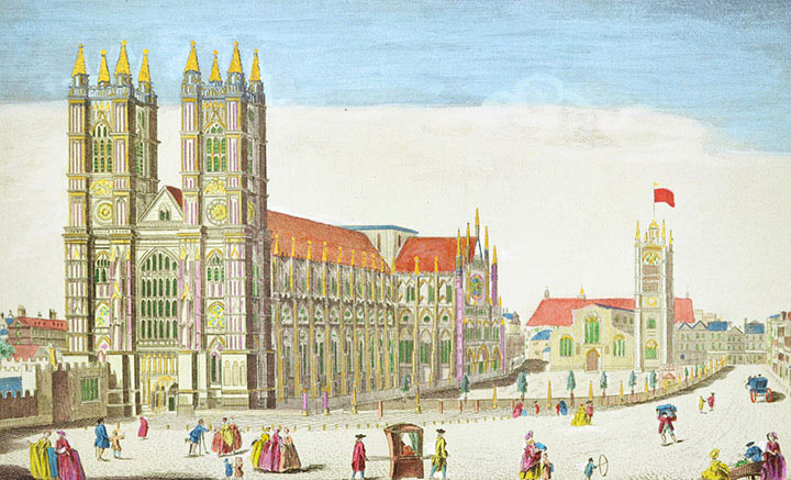 Optical view of Westminster Abbey and St Margaret's Church in London (England)