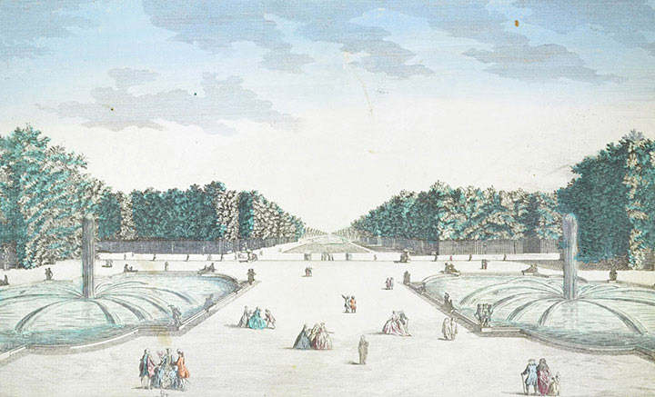 Optical view of the Gardens of the Palace of Versailles (France)