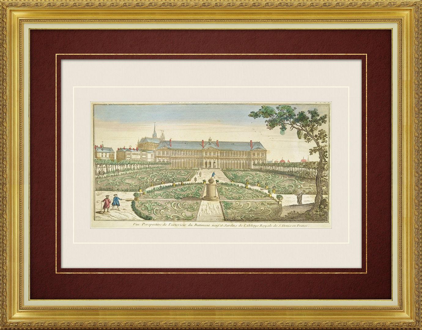 Vue d'optique du 18e siècle en coloris d'époque de l'Abbaye Royale de Saint-Denis et des Jardins (France)