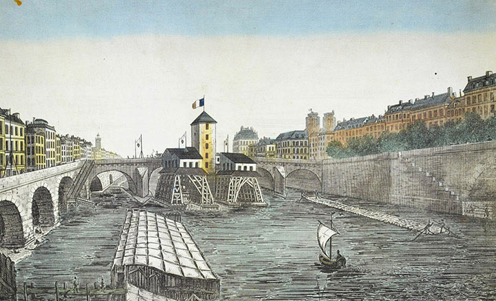 Optical view of the Pont Notre-Dame in Paris (France)