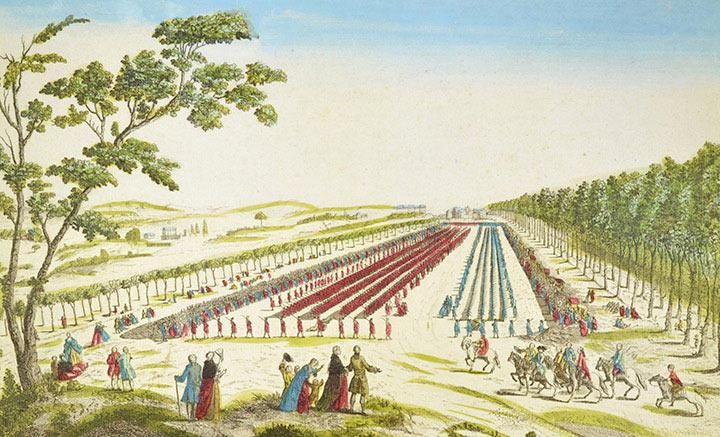View of the Plaine des Sablons - Revue de la Maison du Roi (France)