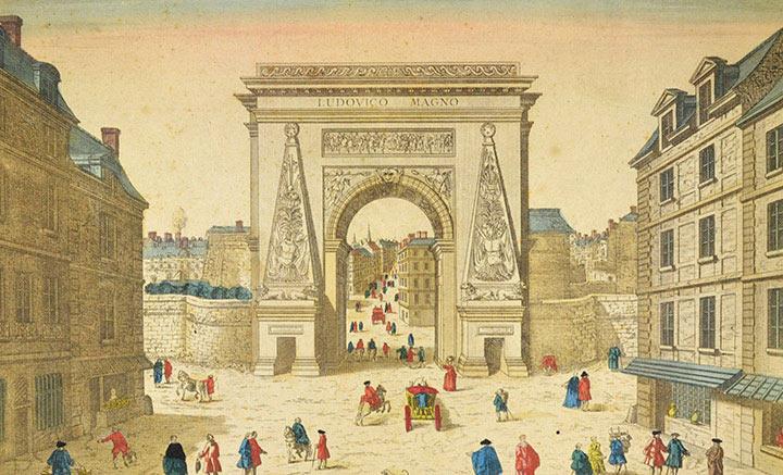 Optical view of Porte Saint-Denis in Paris (France)