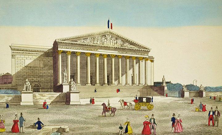 Optical view of the Palais Bourbon in Paris (France)