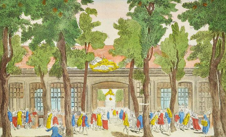 Optical view of Grand Café Alexandre on boulevard du Temple in Paris (France)