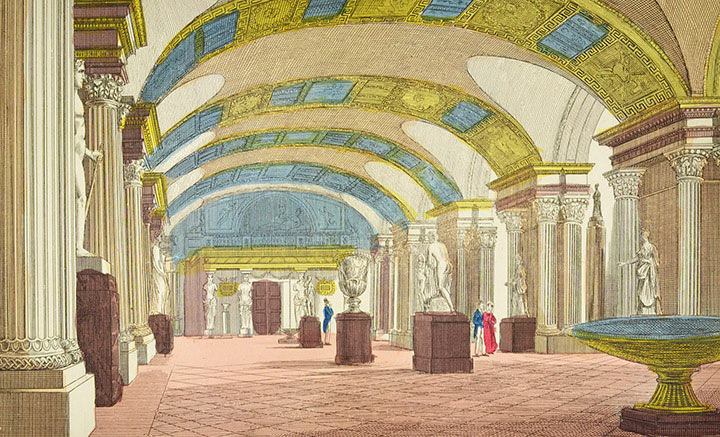 Optical view of the Salle des Caryatides of the Louvre in Paris (France)