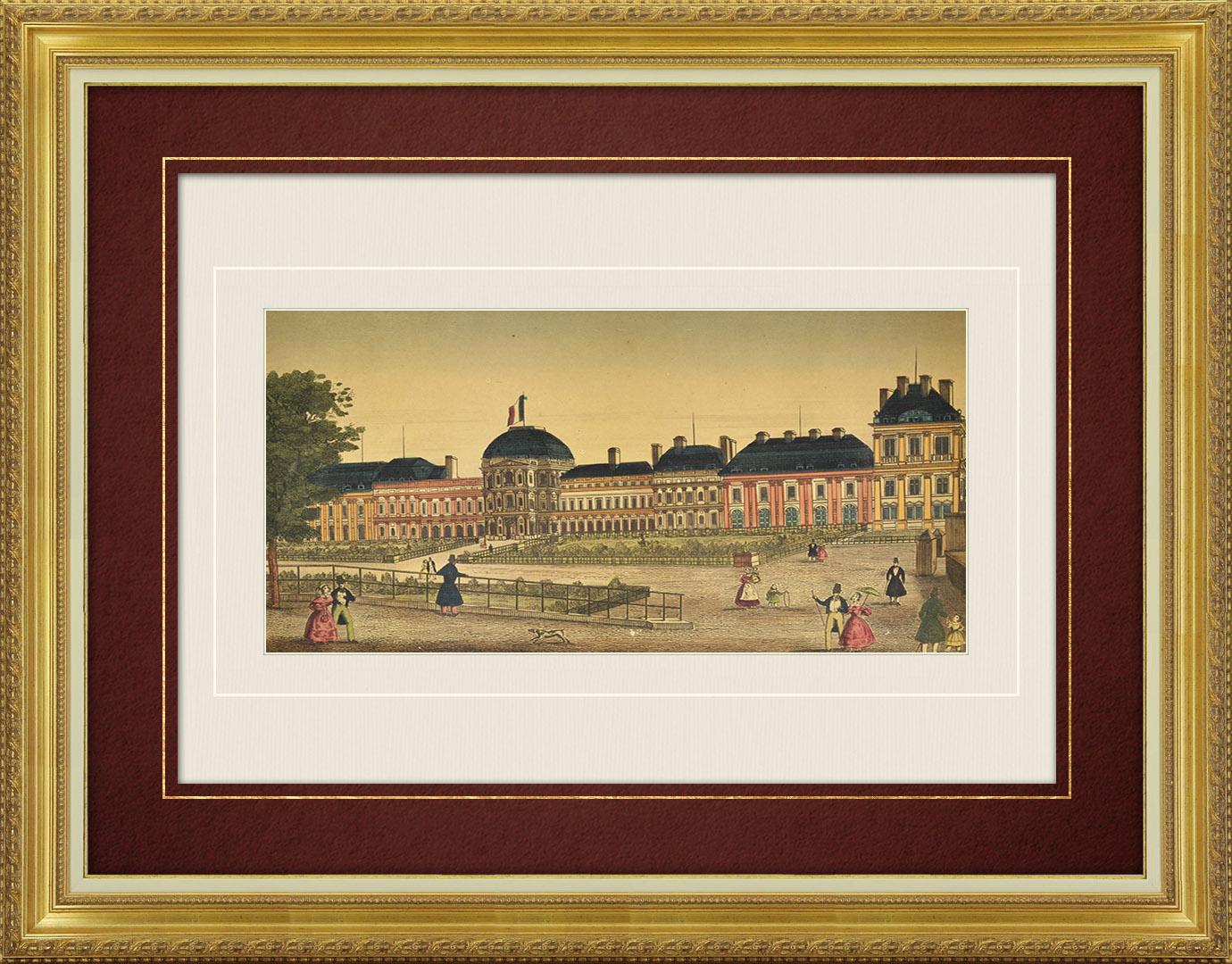 Vue d'optique du 19e siècle en coloris d'époque du Palais des Tuileries à Paris (France)