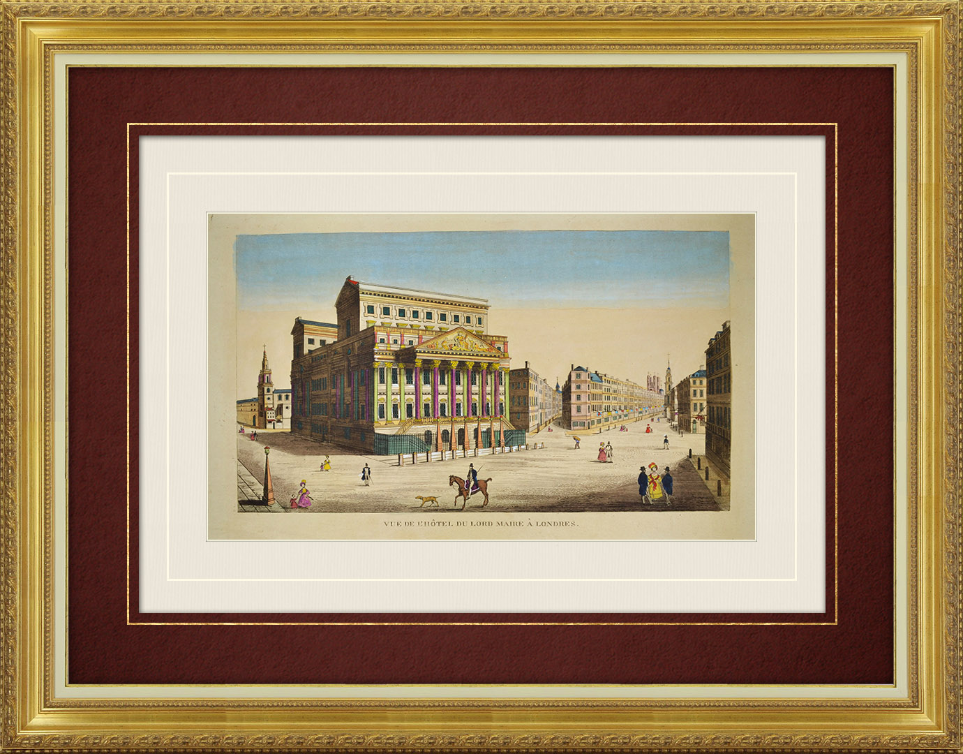 19th Century optical view in original watercolors of Mansion House in London (England )