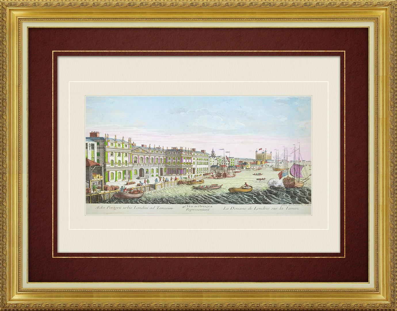 18th Century optical view in original watercolors of the Customs on the River Thames in London (England)
